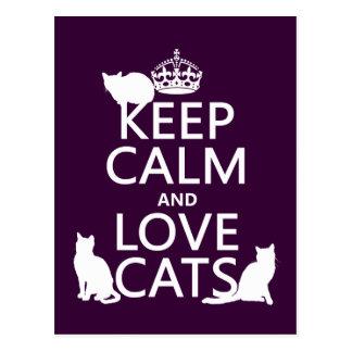 Behalten Sie Ruhe-und Liebe-Katzen (in irgendeiner Postkarte
