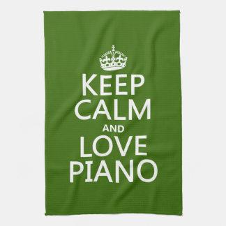 Behalten Sie Ruhe-und Liebe-Klavier (irgendeine Geschirrtuch