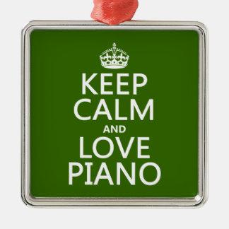 Behalten Sie Ruhe-und Liebe-Klavier (irgendeine Silbernes Ornament
