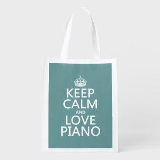 Behalten Sie Ruhe-und Liebe-Klavier (irgendeine Wiederverwendbare Einkaufstasche