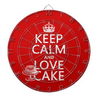 Behalten Sie Ruhe-und Liebe-Kuchen Dartscheibe