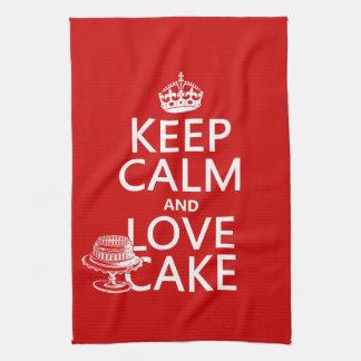 Behalten Sie Ruhe-und Liebe-Kuchen Küchentuch