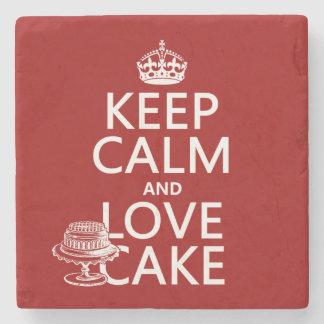 Behalten Sie Ruhe-und Liebe-Kuchen Steinuntersetzer