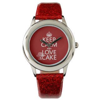 Behalten Sie Ruhe-und Liebe-Kuchen Uhr