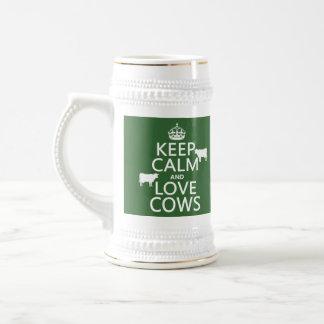 Behalten Sie Ruhe-und Liebe-Kühe (alle Farben) Bierglas