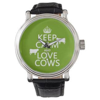 Behalten Sie Ruhe-und Liebe-Kühe (alle Farben) Uhr