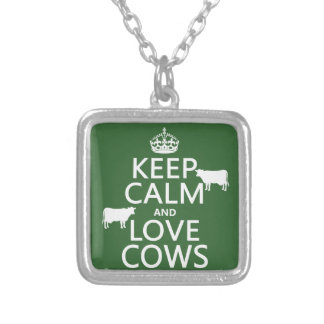 Behalten Sie Ruhe-und Liebe-Kühe (alle Farben) Versilberte Kette