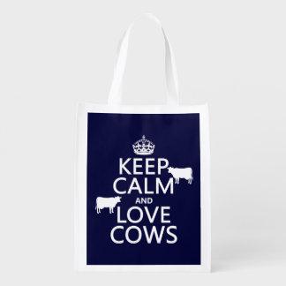 Behalten Sie Ruhe-und Liebe-Kühe (alle Farben) Wiederverwendbare Einkaufstasche