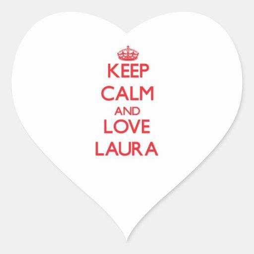 Behalten Sie Ruhe und Liebe Laura Herz Aufkleber