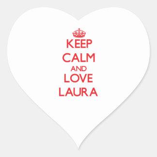 Behalten Sie Ruhe und Liebe Laura Herz-Aufkleber