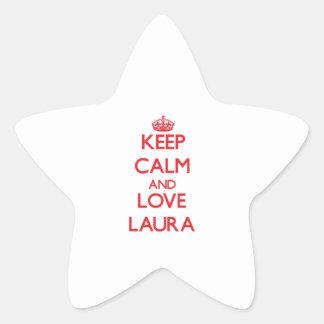 Behalten Sie Ruhe und Liebe Laura Sternaufkleber