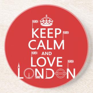 Behalten Sie Ruhe und Liebe London Getränkeuntersetzer