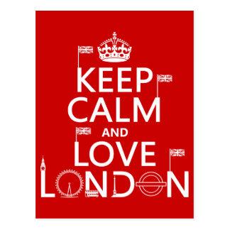 Behalten Sie Ruhe und Liebe London Postkarte