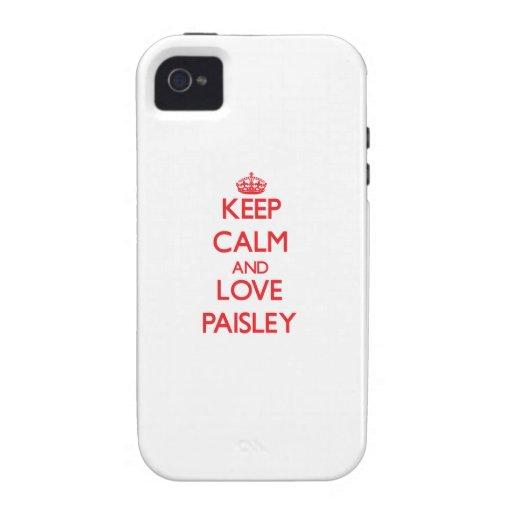 Behalten Sie Ruhe und Liebe Paisley iPhone 4 Cover