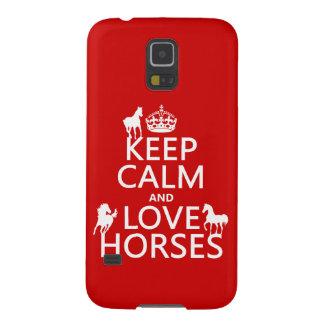 Behalten Sie Ruhe-und Liebe-Pferde - alle Farben Samsung Galaxy S5 Hülle
