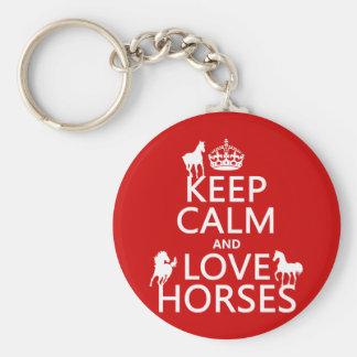 Behalten Sie Ruhe-und Liebe-Pferde - alle Farben Schlüsselband