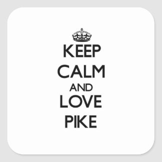 Behalten Sie Ruhe und Liebe Pike Quadrat-Aufkleber