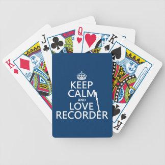 Behalten Sie Ruhe-und Liebe-Recorder (irgendeine Bicycle Spielkarten