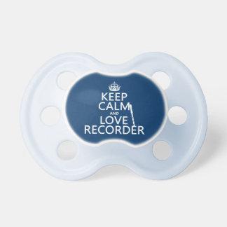 Behalten Sie Ruhe-und Liebe-Recorder (irgendeine Schnuller