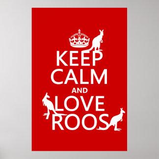 Behalten Sie Ruhe und Liebe Roos (Kängurus) Poster