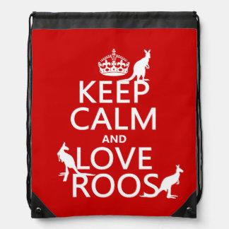 Behalten Sie Ruhe und Liebe Roos (Kängurus) Turnbeutel