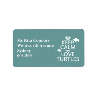 Behalten Sie Ruhe-und Liebe-Schildkröten Adressaufkleber