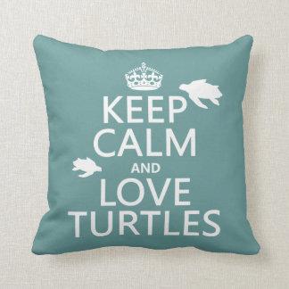 Behalten Sie Ruhe-und Liebe-Schildkröten Kissen