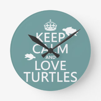 Behalten Sie Ruhe-und Liebe-Schildkröten Runde Wanduhr