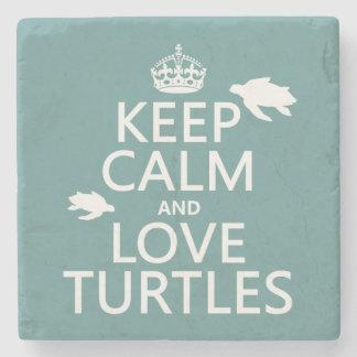 Behalten Sie Ruhe-und Liebe-Schildkröten Steinuntersetzer