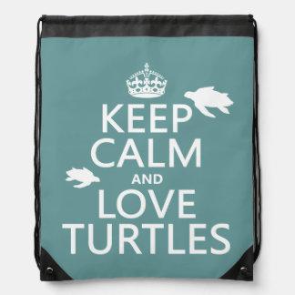 Behalten Sie Ruhe-und Liebe-Schildkröten Turnbeutel