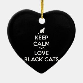Behalten Sie Ruhe-und Liebe-schwarze Katzen Keramik Ornament