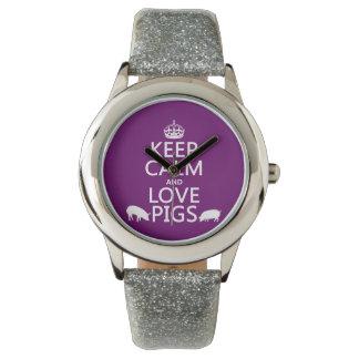 Behalten Sie Ruhe-und Liebe-Schweine (alle Farben) Armbanduhr
