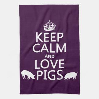 Behalten Sie Ruhe-und Liebe-Schweine (alle Farben) Geschirrtuch