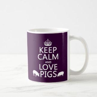 Behalten Sie Ruhe-und Liebe-Schweine (alle Farben) Kaffeetasse
