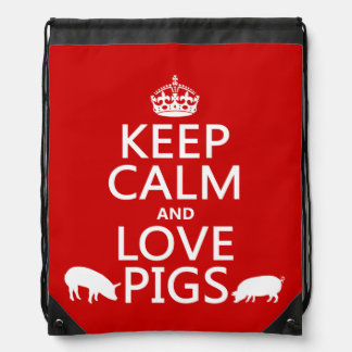 Behalten Sie Ruhe-und Liebe-Schweine (alle Farben) Sportbeutel