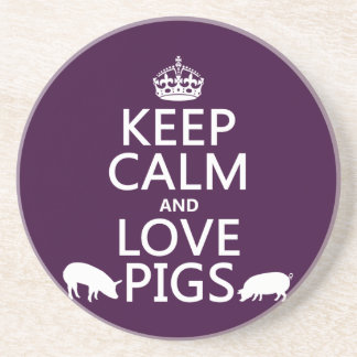 Behalten Sie Ruhe-und Liebe-Schweine (alle Farben) Untersetzer