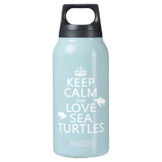 Behalten Sie Ruhe-und Liebe-Seeschildkröten Isolierte Flasche