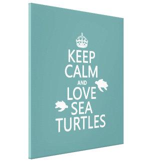 Behalten Sie Ruhe-und Liebe-Seeschildkröten Leinwanddruck