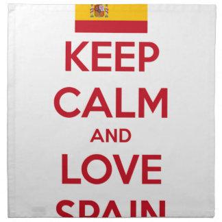 Behalten Sie Ruhe und Liebe Spanien Stoffserviette