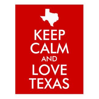Behalten Sie Ruhe-und Liebe-Texas-Rot Postkarten