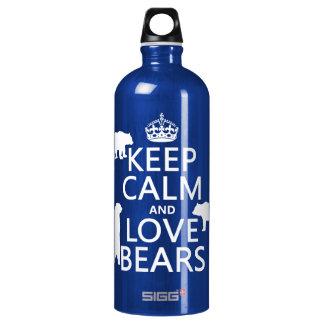 Behalten Sie Ruhe und Liebe trägt (in allen Aluminiumwasserflasche