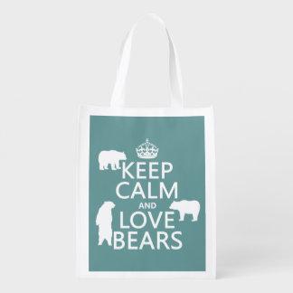 Behalten Sie Ruhe und Liebe trägt (in allen Wiederverwendbare Einkaufstasche