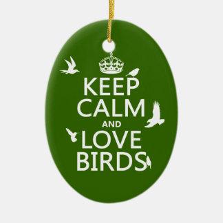 Behalten Sie Ruhe-und Liebe-Vögel (irgendeine Keramik Ornament