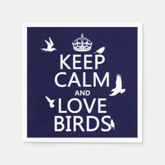 Behalten Sie Ruhe-und Liebe-Vögel (irgendeine Serviette