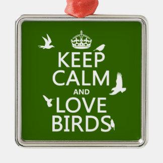 Behalten Sie Ruhe-und Liebe-Vögel (irgendeine Silbernes Ornament