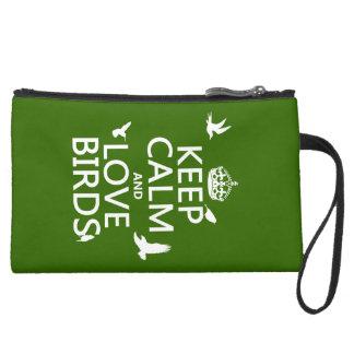 Behalten Sie Ruhe-und Liebe-Vögel (irgendeine Velour Wristlet Geldbörse
