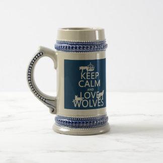 Behalten Sie Ruhe-und Liebe-Wölfe (irgendeine Bierglas