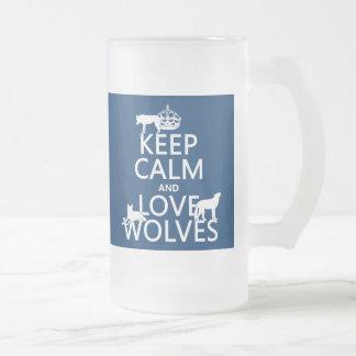 Behalten Sie Ruhe-und Liebe-Wölfe (irgendeine Mattglas Bierglas