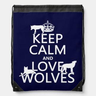 Behalten Sie Ruhe-und Liebe-Wölfe (irgendeine Sportbeutel
