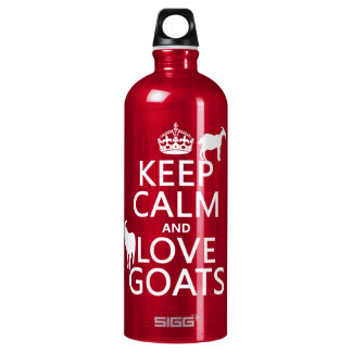 Behalten Sie Ruhe-und Liebe-Ziegen Aluminiumwasserflasche